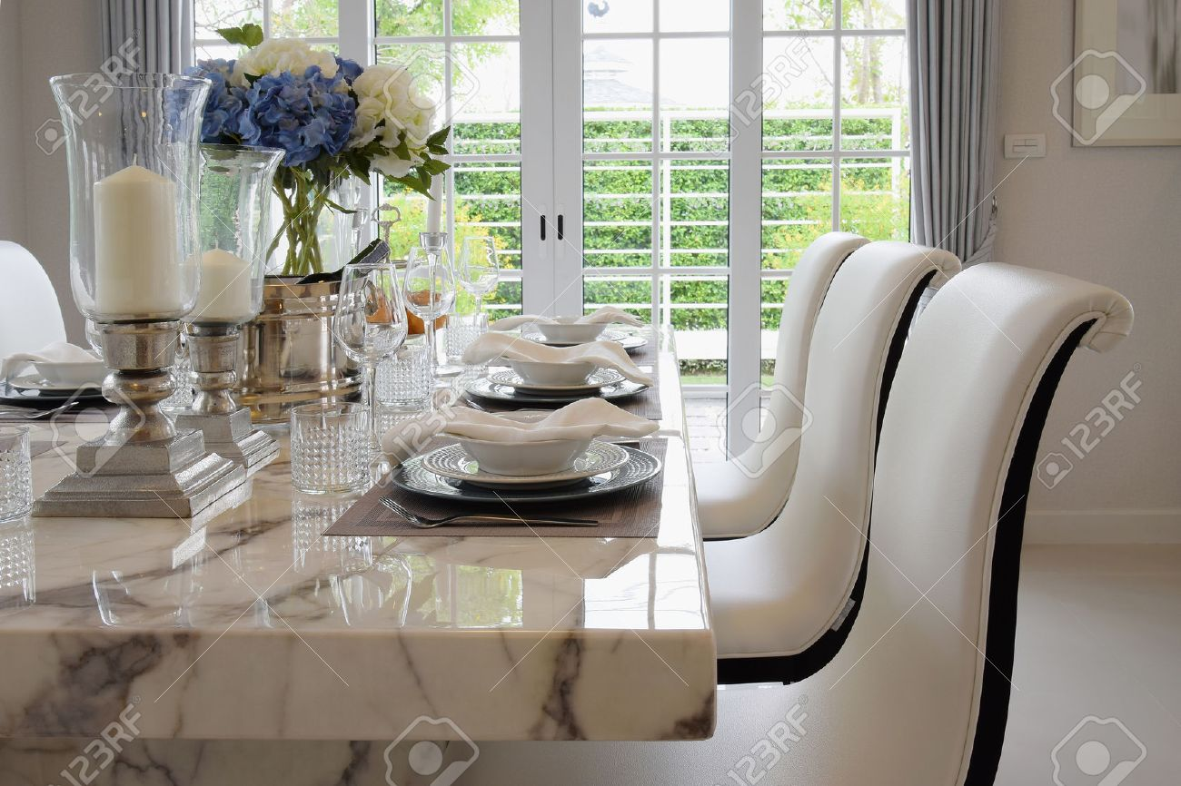 dining table and comfortable chairs in vintage style with elegant