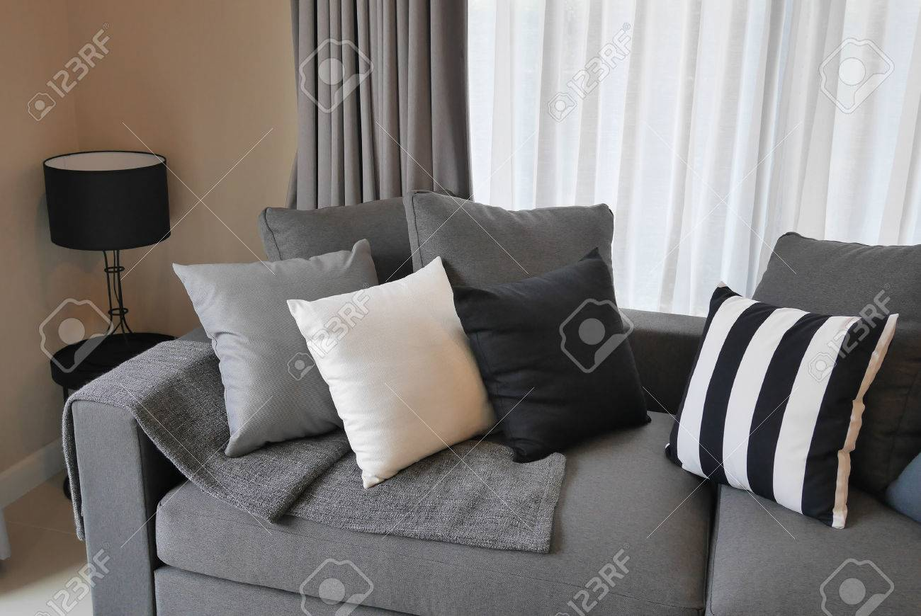 stylish living room comfortable. Wonderful Stylish Stock Photo  Stylish Living Room Design With Grey And Black Striped  Pillows On Comfortable Sofa And Stylish Living Room Comfortable