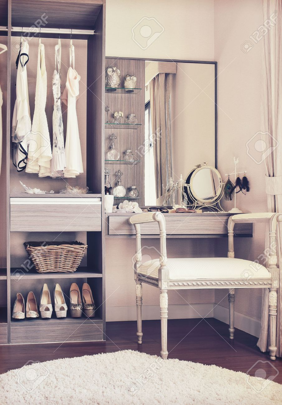 Stock Photo   Vintage Style Photo Of Dressing Room With Classic White Chair  And Dressing Table