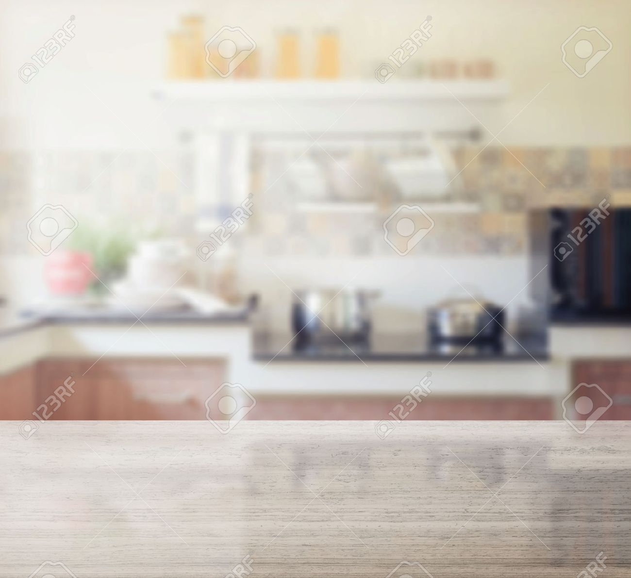 Kitchen Table Top Background granite table top and blur of modern kitchen interior as