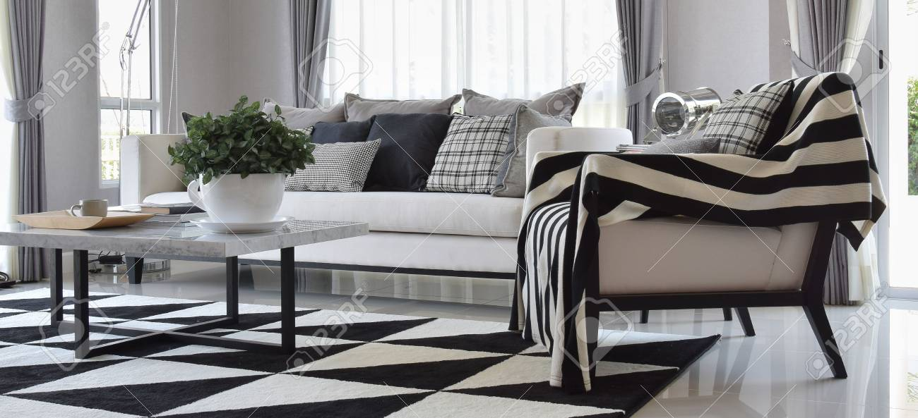 Intérieur de salon moderne avec coussins et tapis en noir et blanc vernis