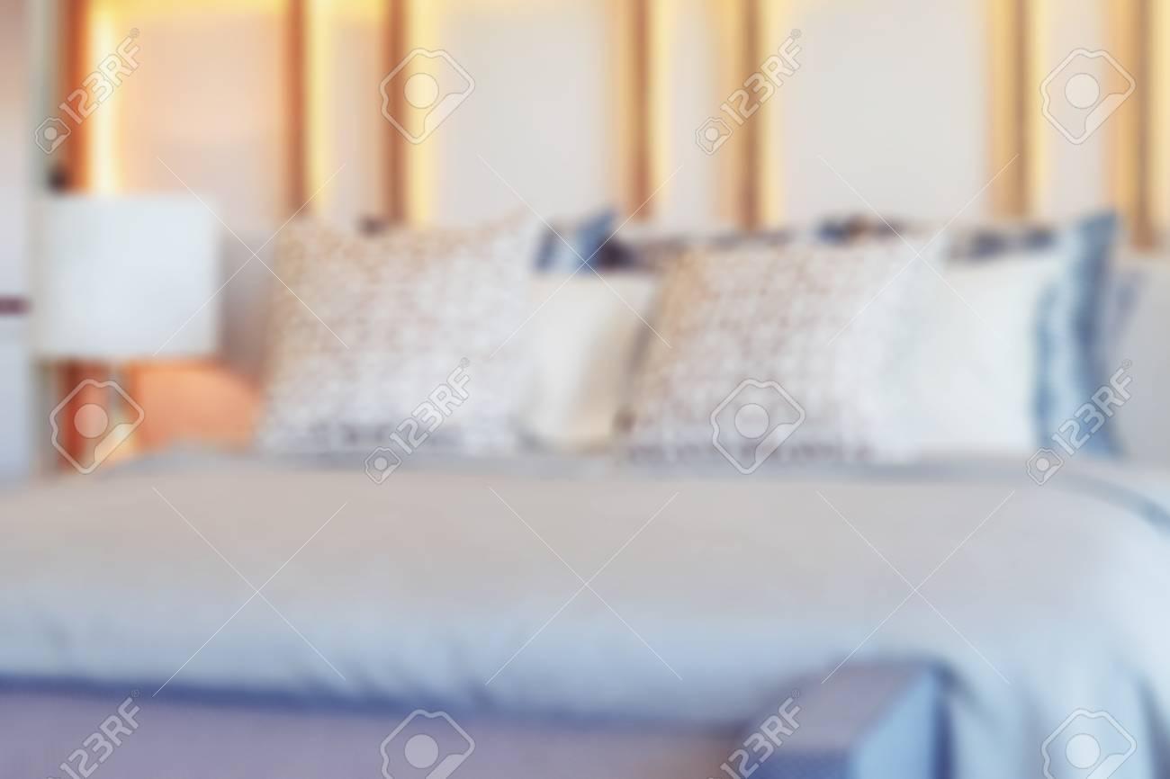 Sfocatura immagine dell interno elegante camera da letto con