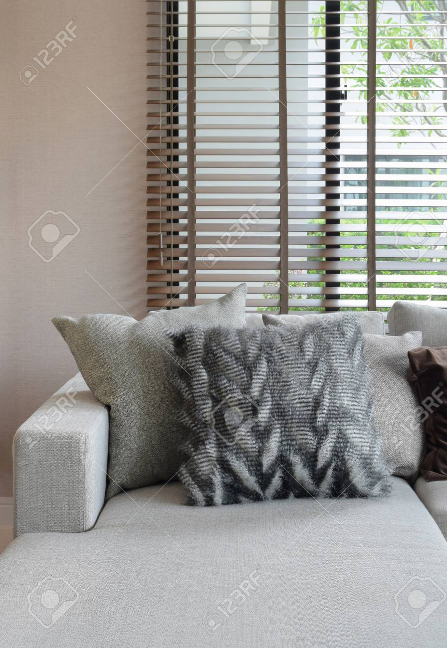 Fluffy Pillows And Earth Tone Pillows Setting On Beige L Shape Sofa Stock  Photo   55247189
