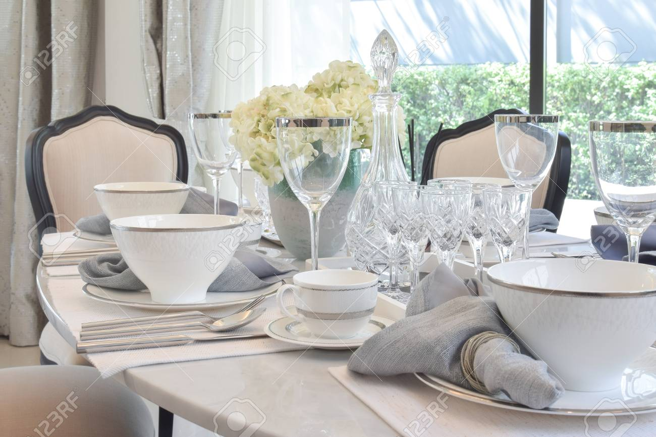 Elegant Table Set On Marble Dining Table In Vintage Style Dining Stock Photo Picture And Royalty Free Image Image 75392600