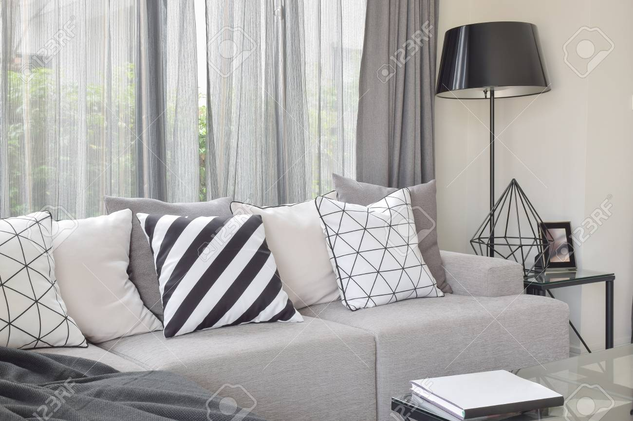 Varies Pattern Pillows In Monotone Setting On Light Gray Sofa Stock Photo Picture And Royalty Free Image Image 77689002