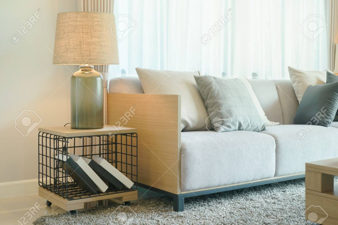 Surprising Table Lamp Next To Comfy Sofa In Modern Style Living Room Squirreltailoven Fun Painted Chair Ideas Images Squirreltailovenorg