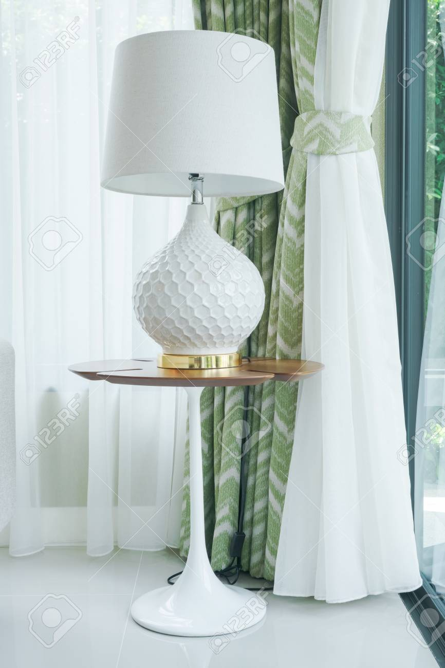 photo modern classic style table lamp at corner of living room