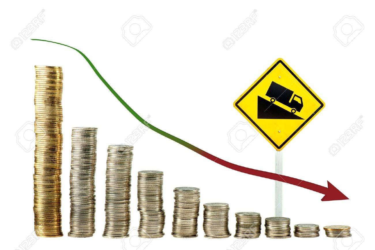 down trend graph from coin Stock Photo - 9884680