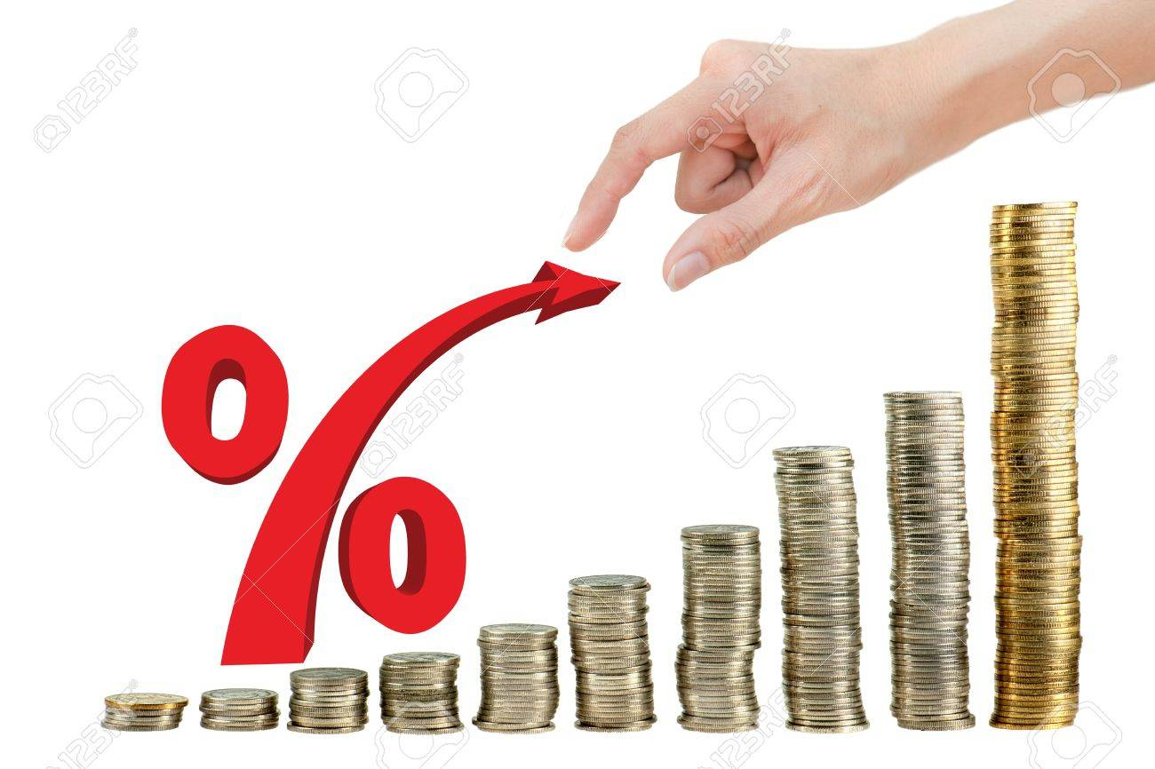 Hand pull red percentage on coin graph Stock Photo - 10756955