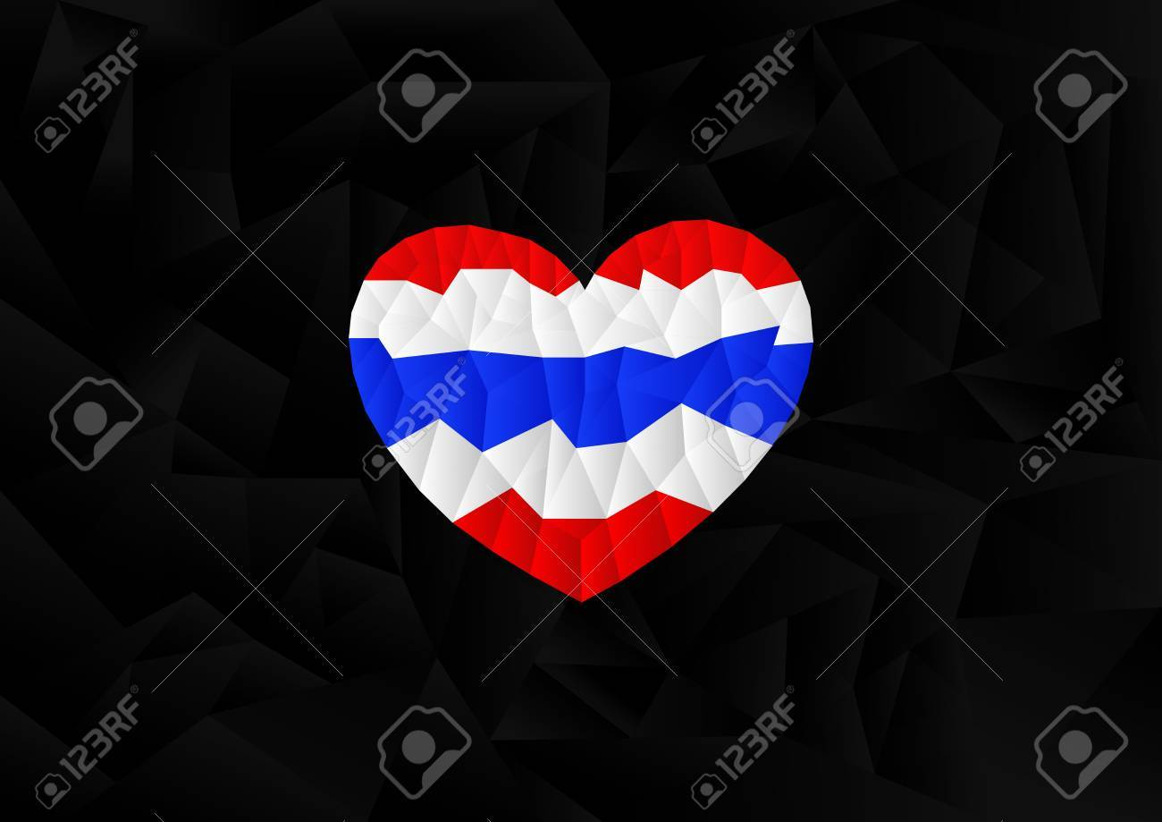 polygon thailand flag in heart shape with black background, illustration,