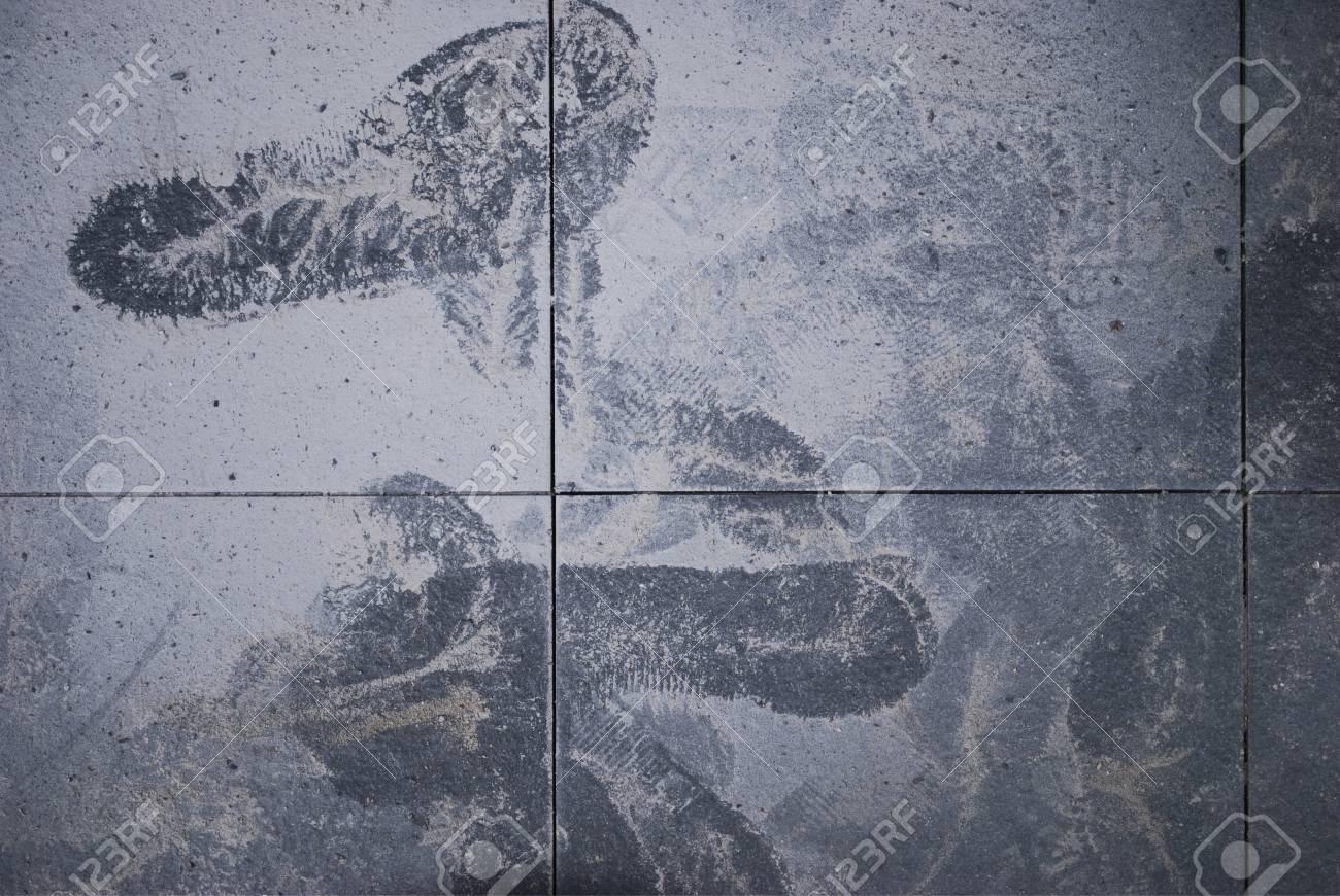 Immagini stock sfondo footmark a pavimento di piastrelle