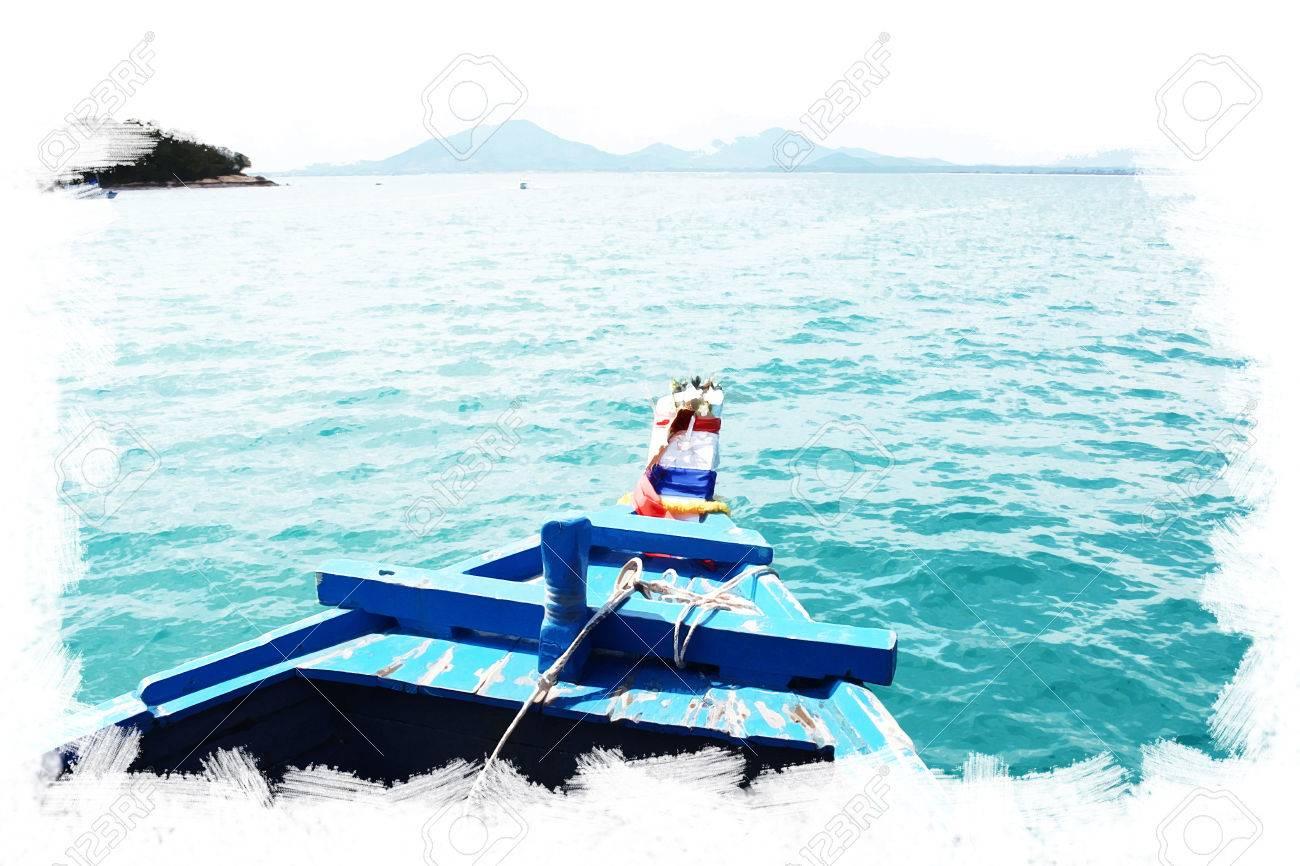 Postkarte Kunstkonzept Thai-Boot Wasser Farbe Hintergrund ...
