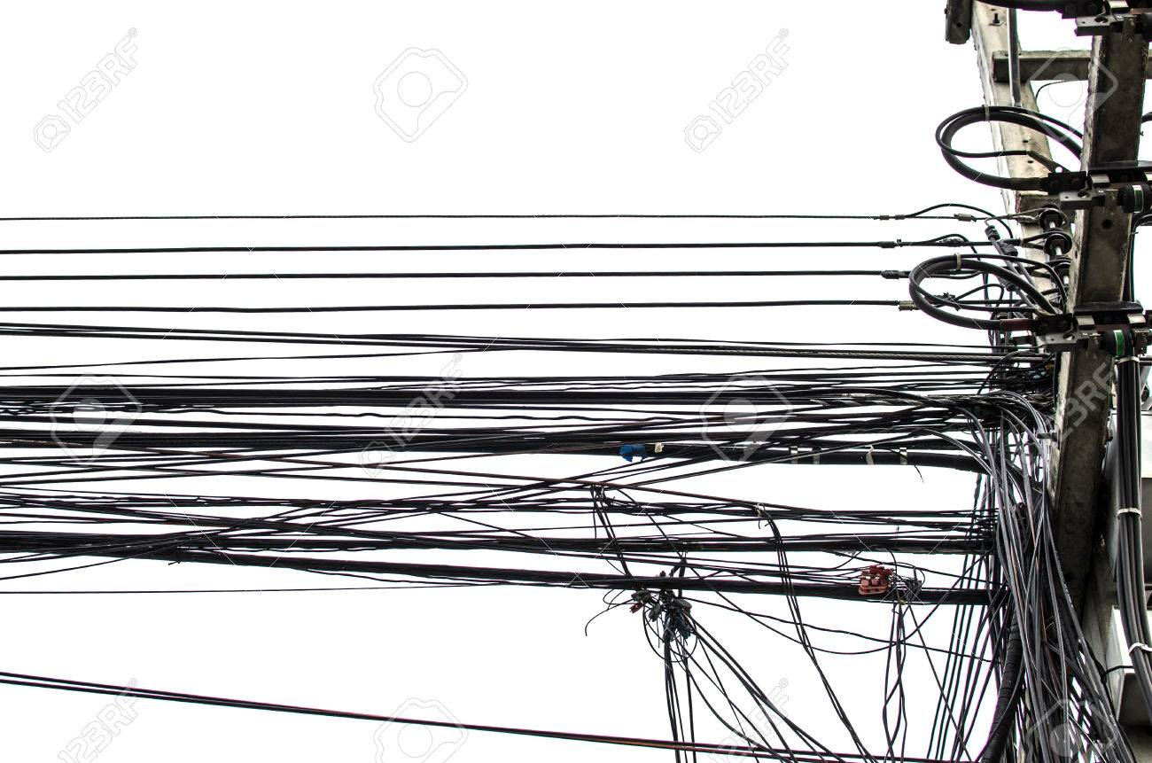 Electricity Cable Telephone Wire And Fiber Optic Wire Of Internet ...