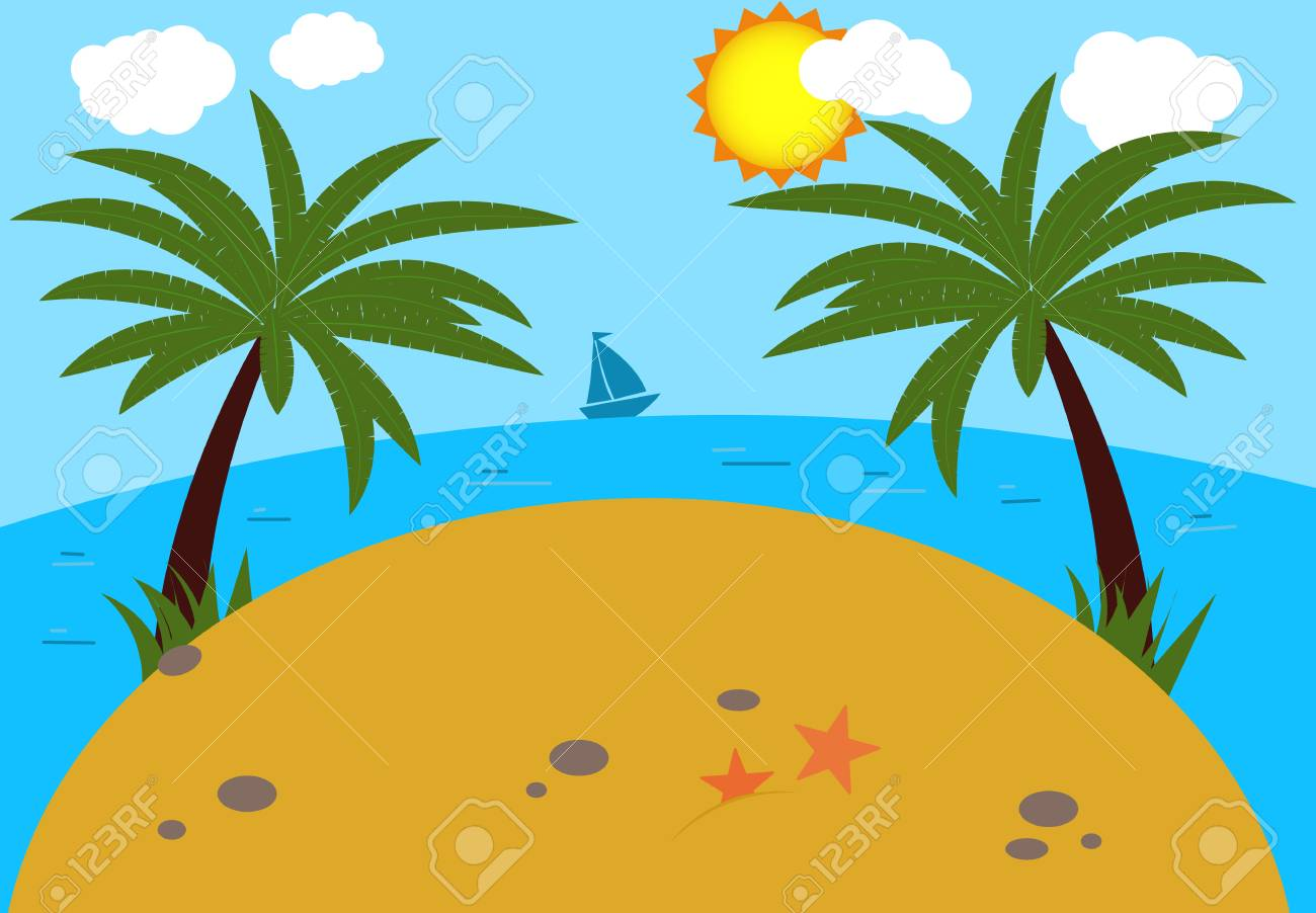 summer background beach sea and a palm tree modern flat design rh se 123rf com hawaiian beach background clipart hawaiian beach background clipart