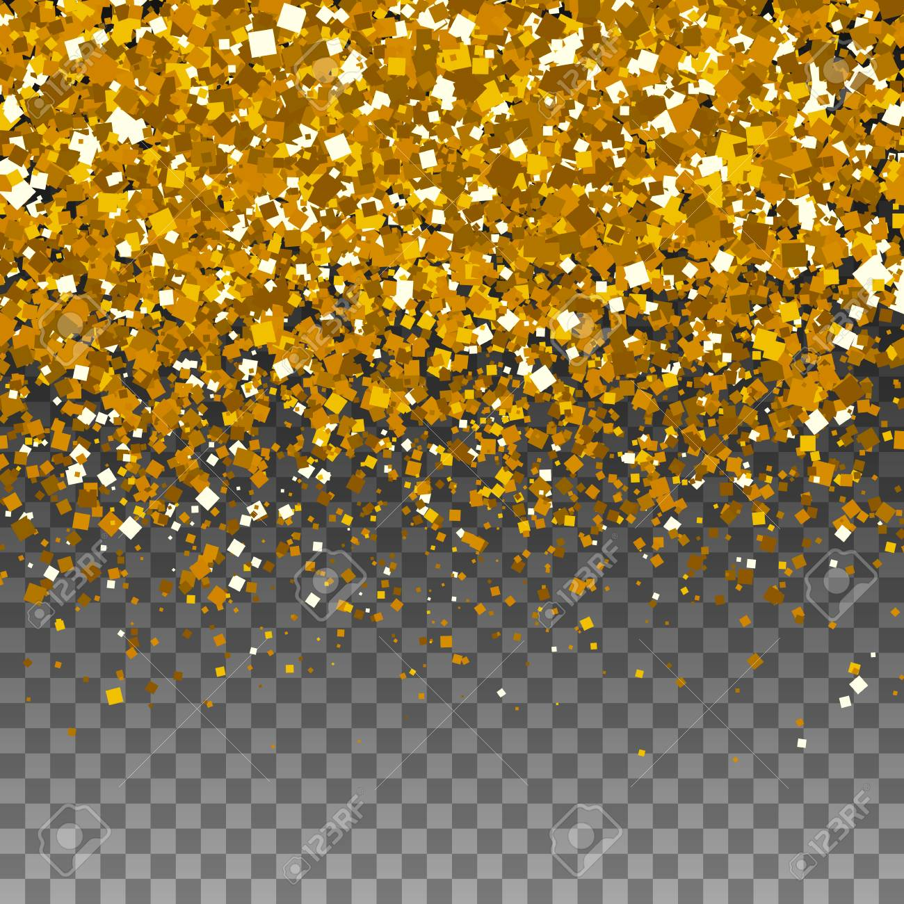 Vector gold glitter sparkle particles background effect on transparent