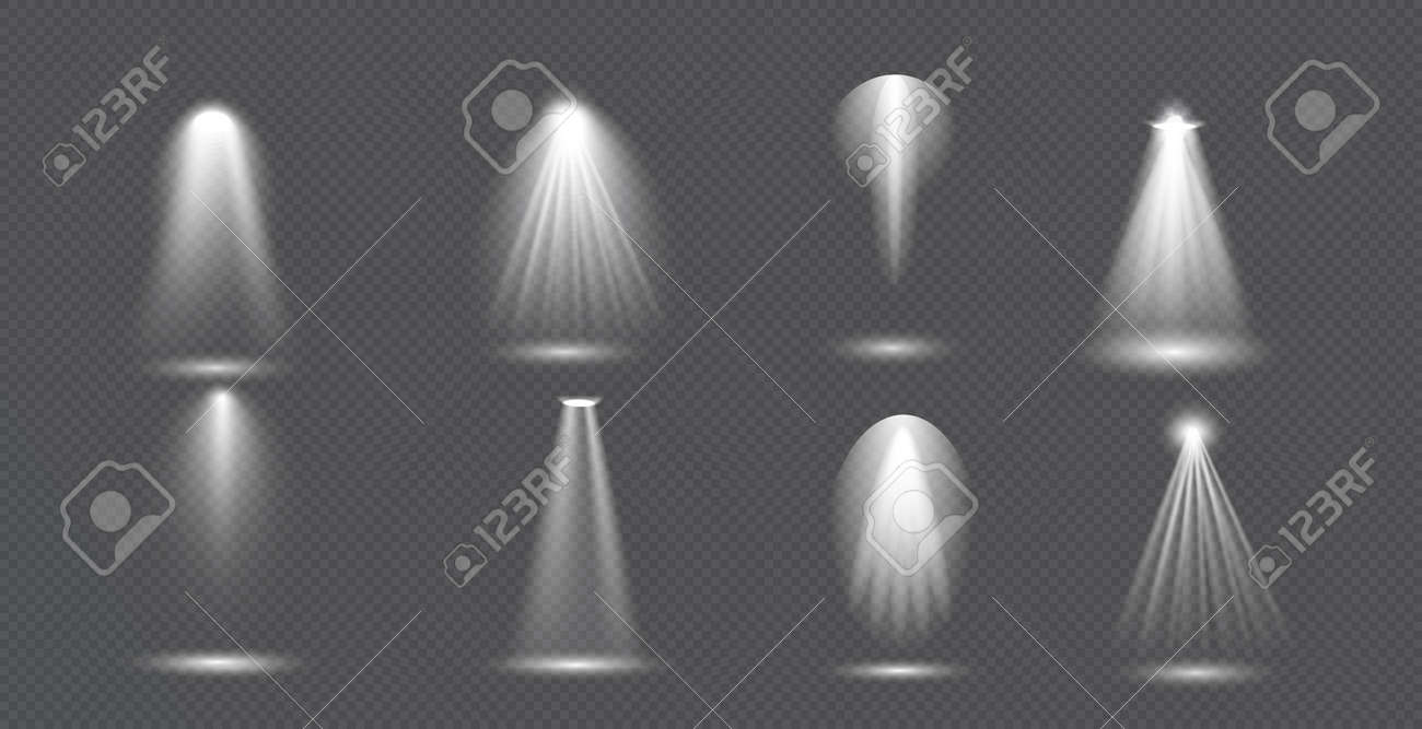 Scene illumination big collection, concert lighting, stage spotlights. Spot lighting of the stage. Transparent Special effect for your design - 157156719