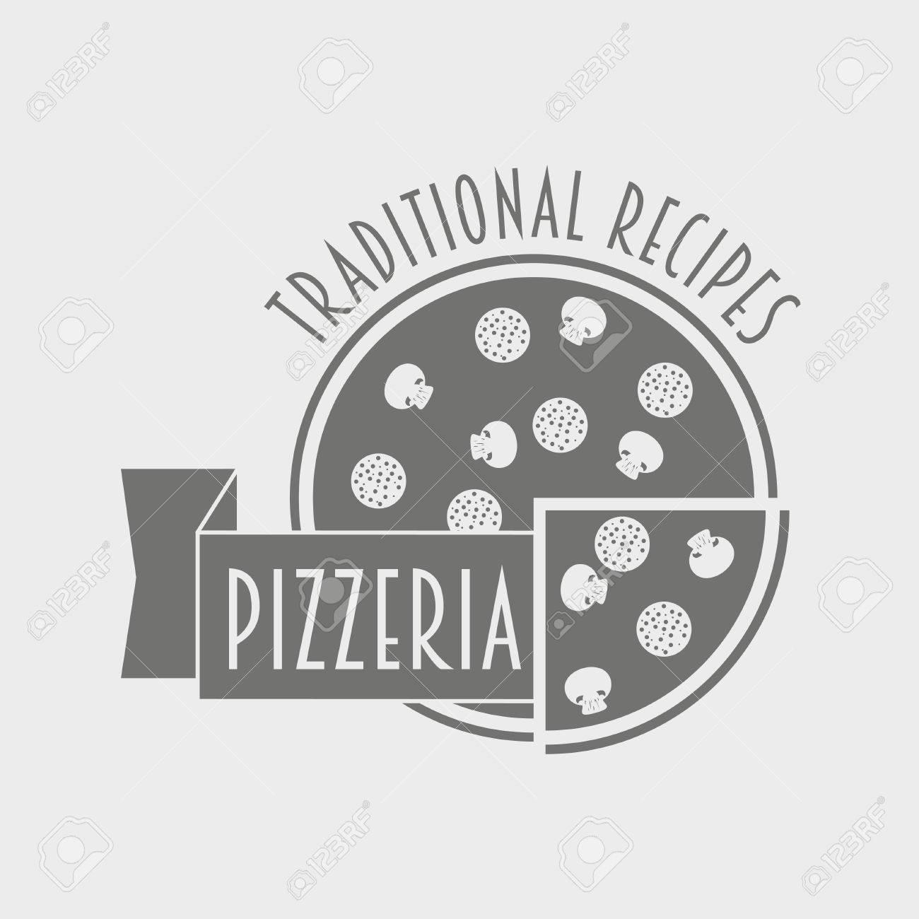 TIquette Pizzeria Noir Et Blanc Ou Logo Concept Pour Le Restaurant