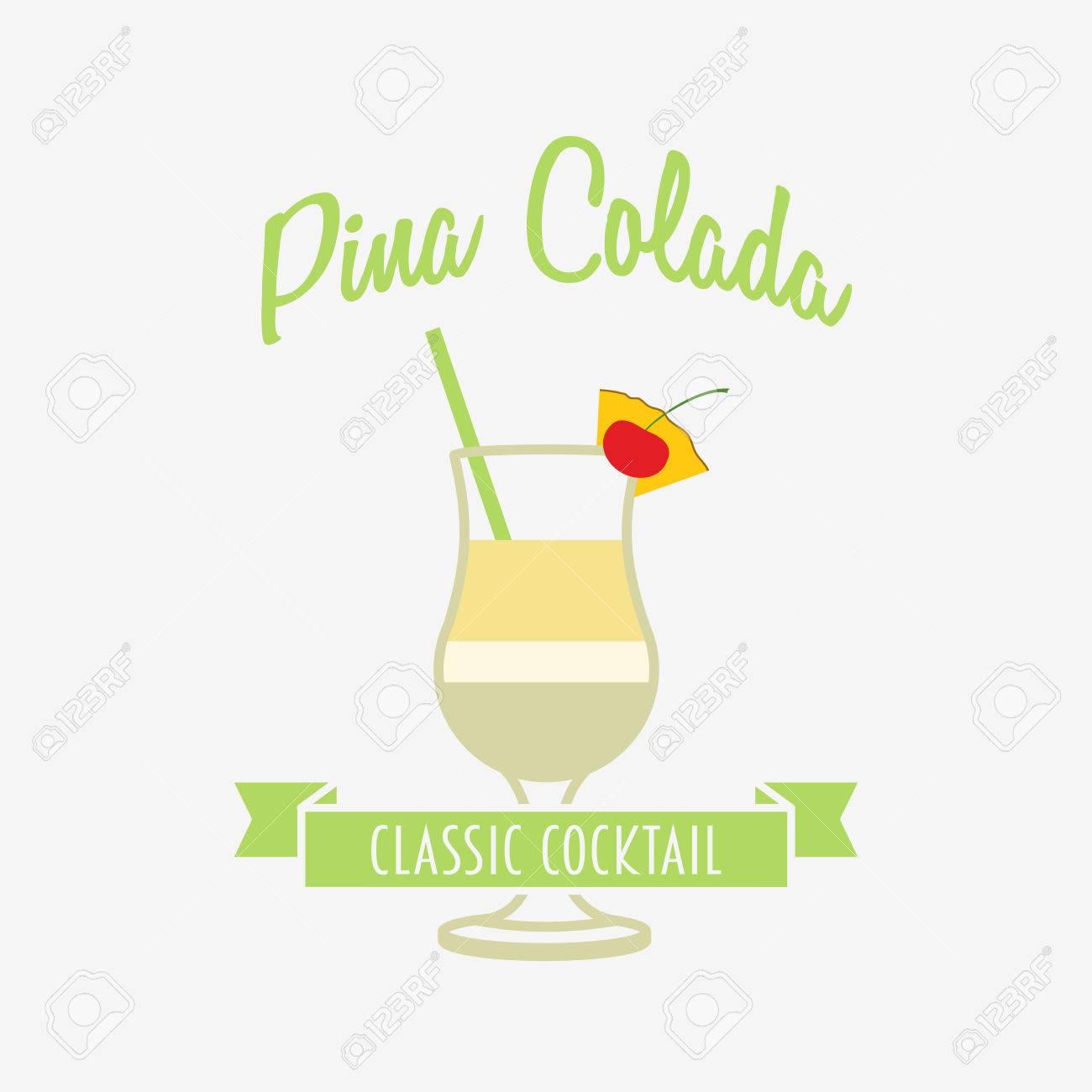 Cocktail, Abzeichen Oder Label-Design-Vorlage Mit Pina Colada In ...