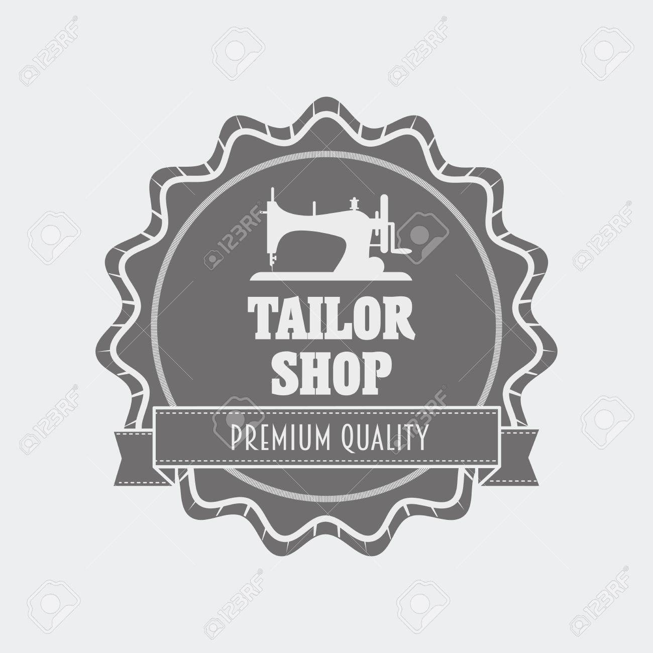 Retro Tailor Shop Label Design Template With Sewing Machine Royalty ...