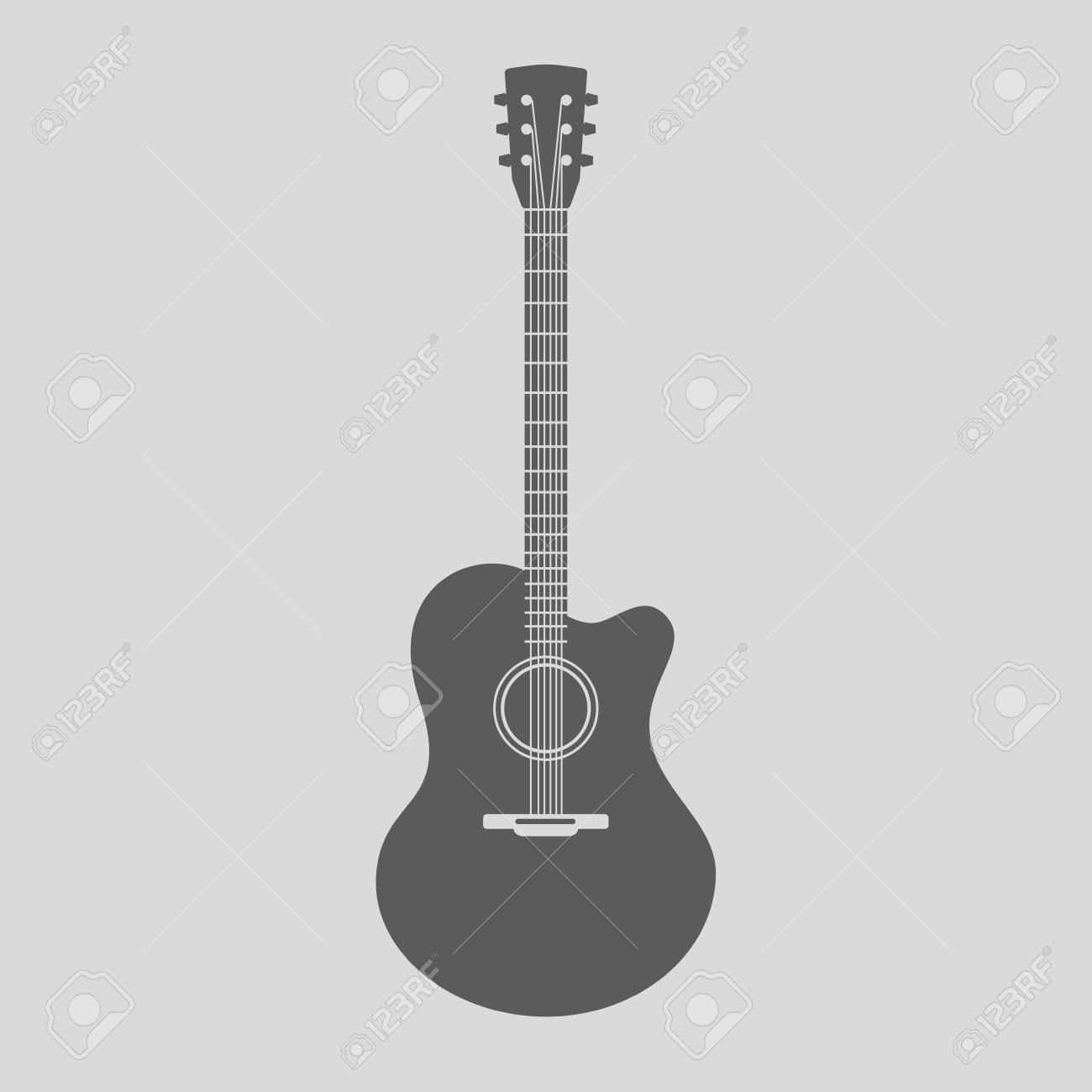 vector acoustic guitar icon gray sign with guitar silhouette