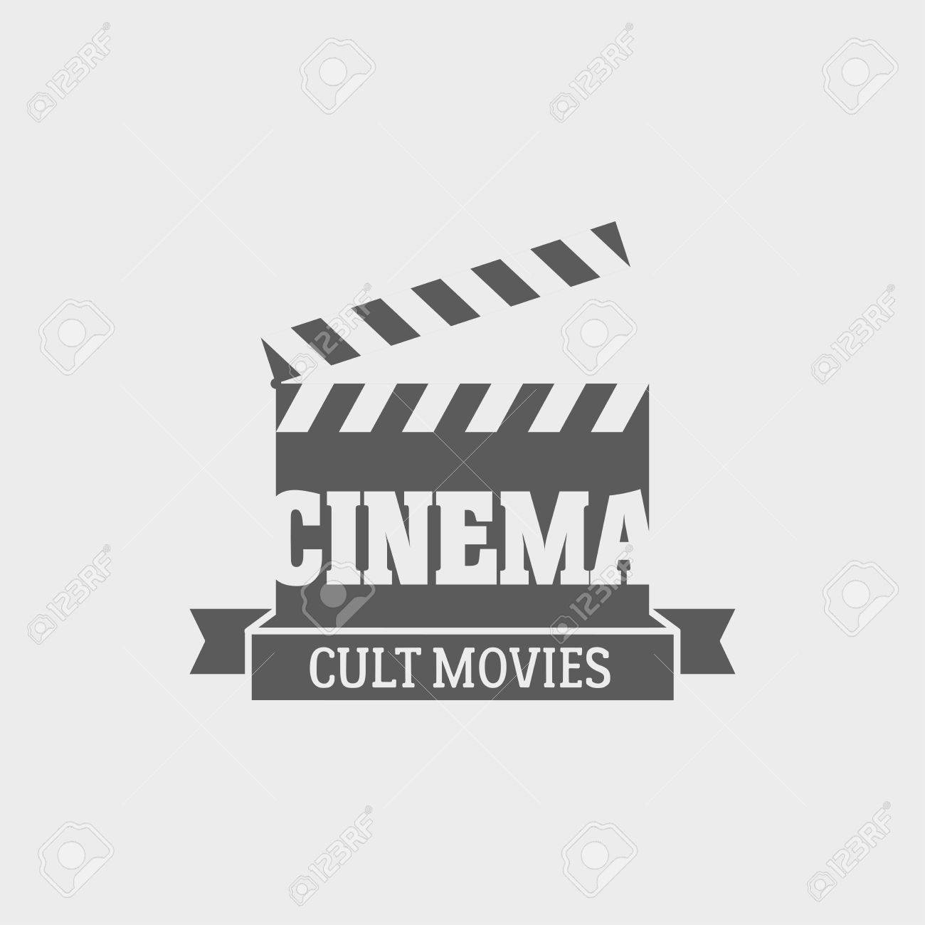 Vector Cinema Cult Movies Label Design Template With Movie.. Royalty ...