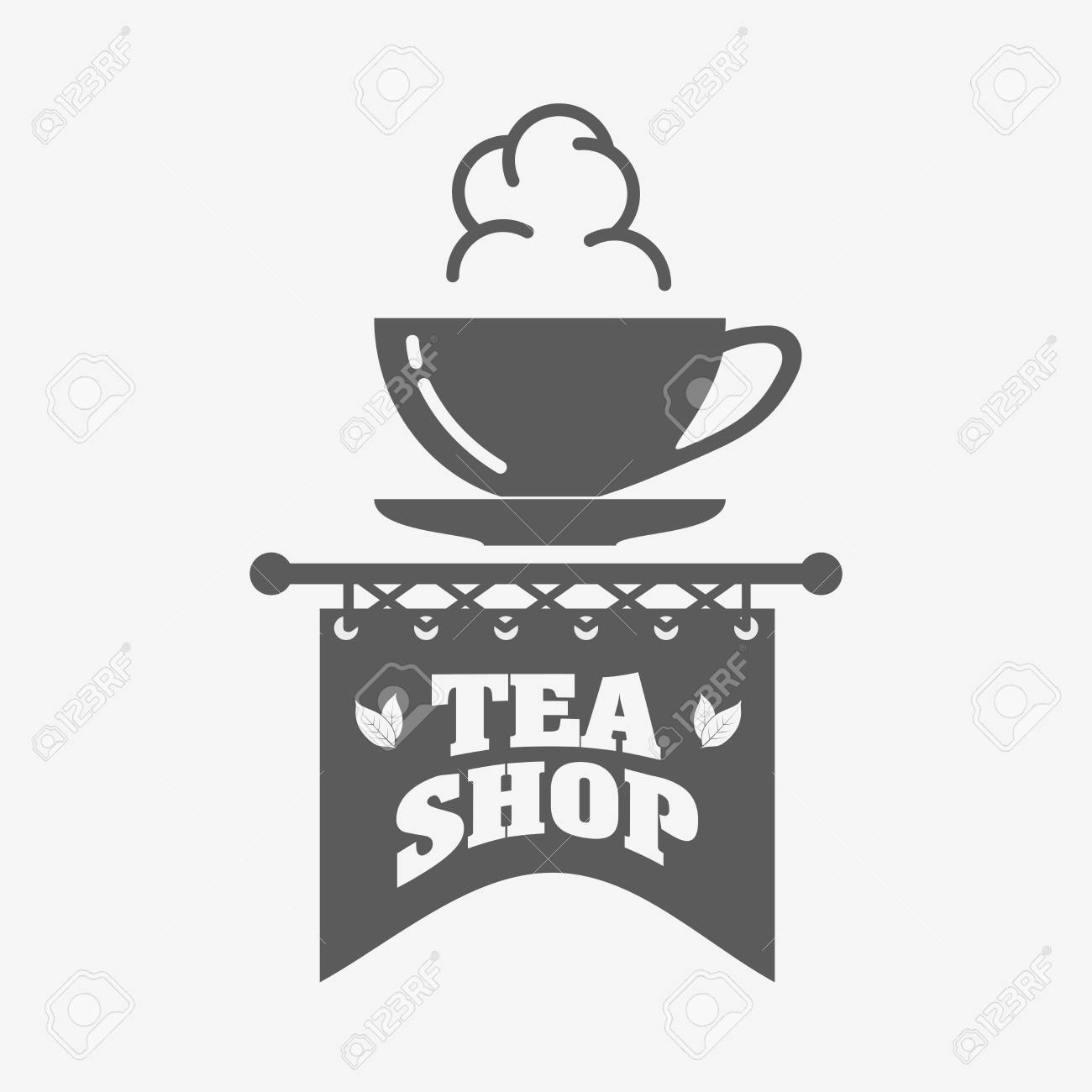 Tea Shop Logo, Badge Or Label Design Template With Tea Cup Royalty ...
