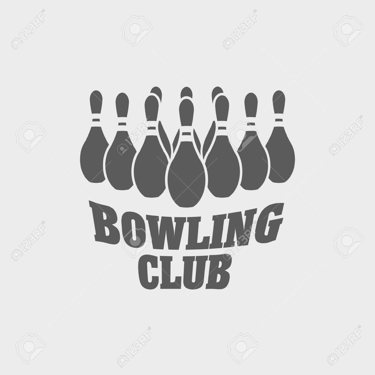bowling club logo label or symbol design template with bowling