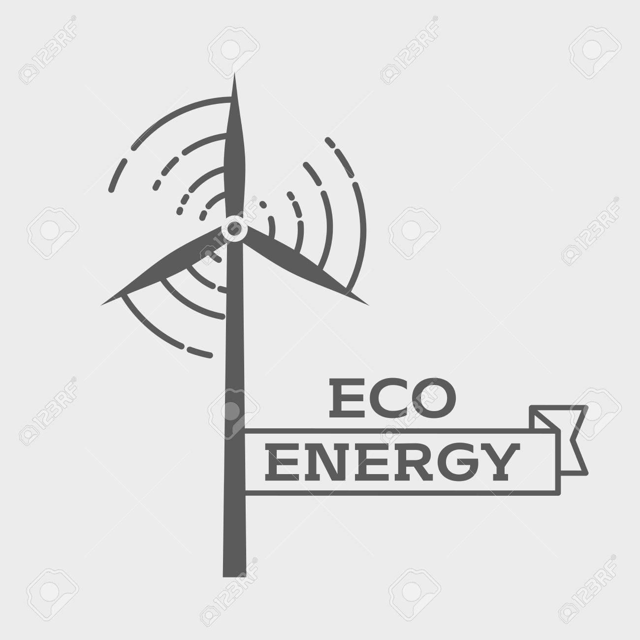 Eco energy logo or label design template. Wind energy generator. Wind farm symbol - 57889360