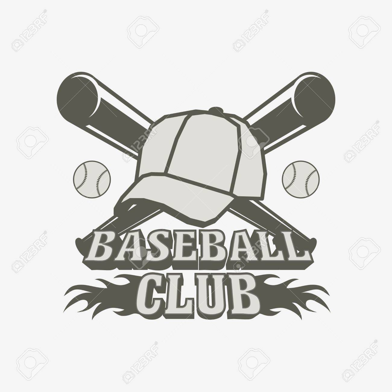 Baseball Logo Badge Or Label Design Template With Balls Cap And Two Bats