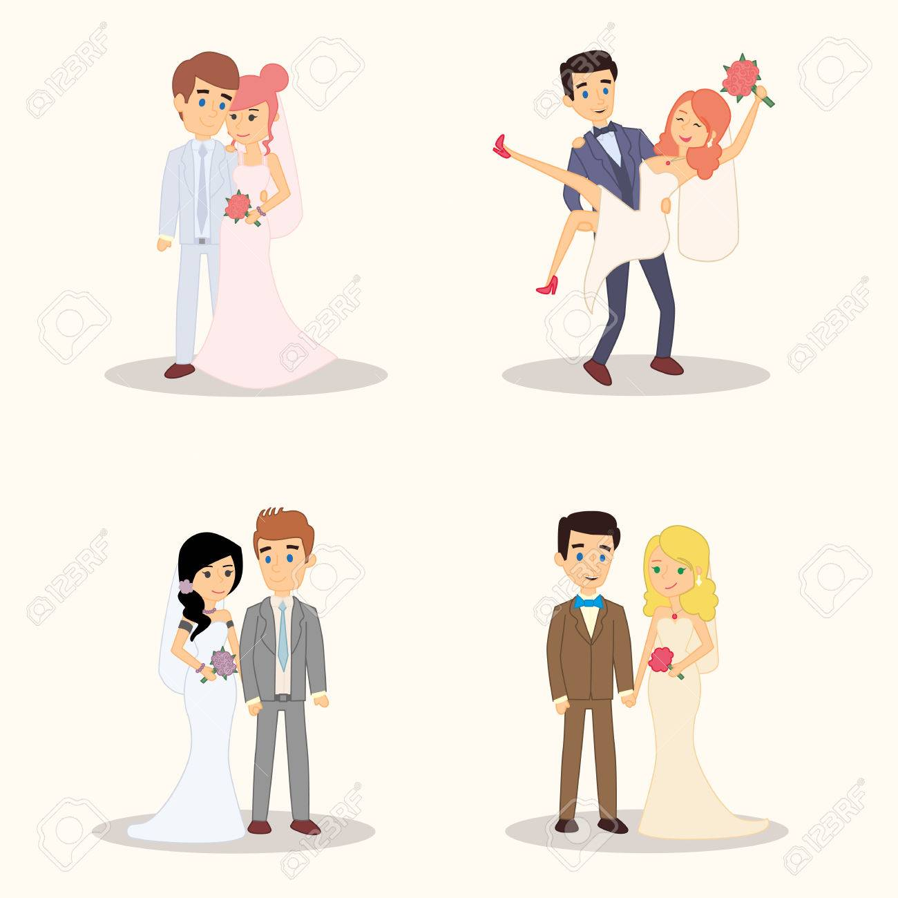 Wedding couple cartoon characters set vector illustrations for wedding couple cartoon characters set vector illustrations for invitation greeting card design t kristyandbryce Gallery