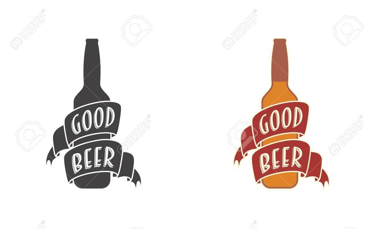 Good Beer Vector Logo Symbol Or Label Template With Bottle And - Beer bottle label template