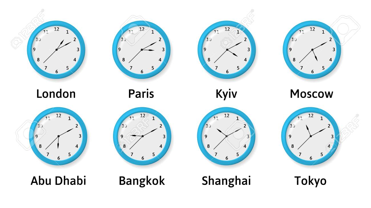 a43ac9010123 Foto de archivo - Ilustración de relojes de pared de zona horaria. Hora internacional  Relojes que muestran varias zonas horarias.