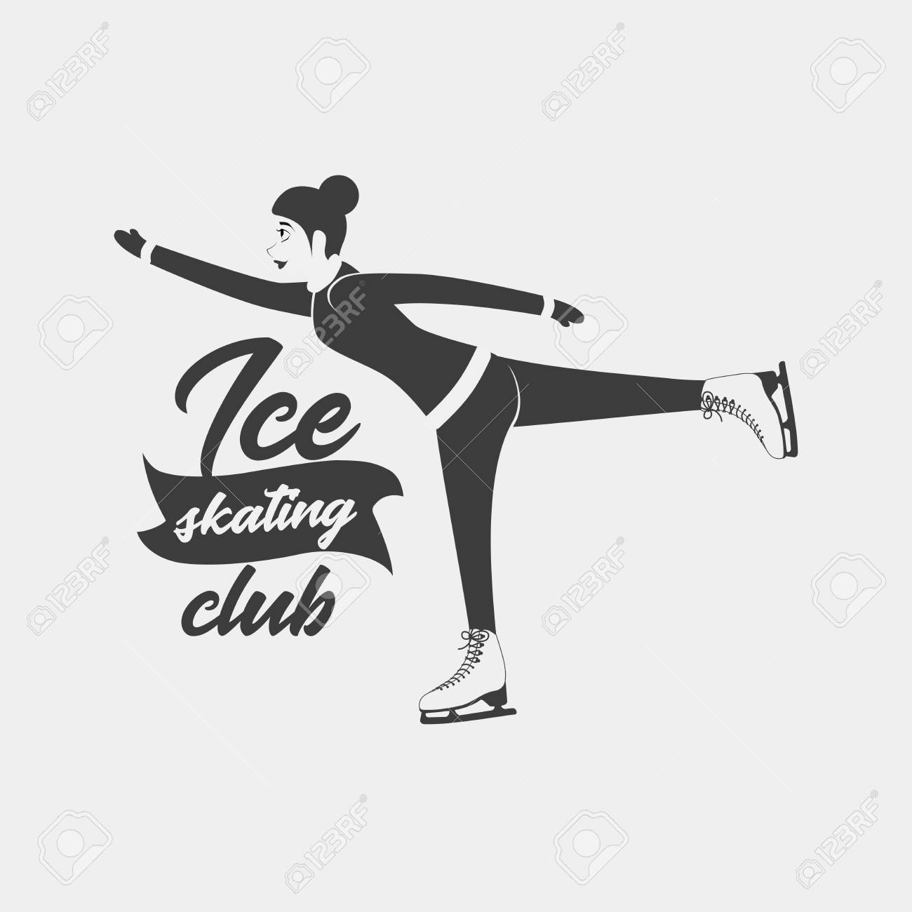 logo with a woman moving on ice skates monochrome badge template