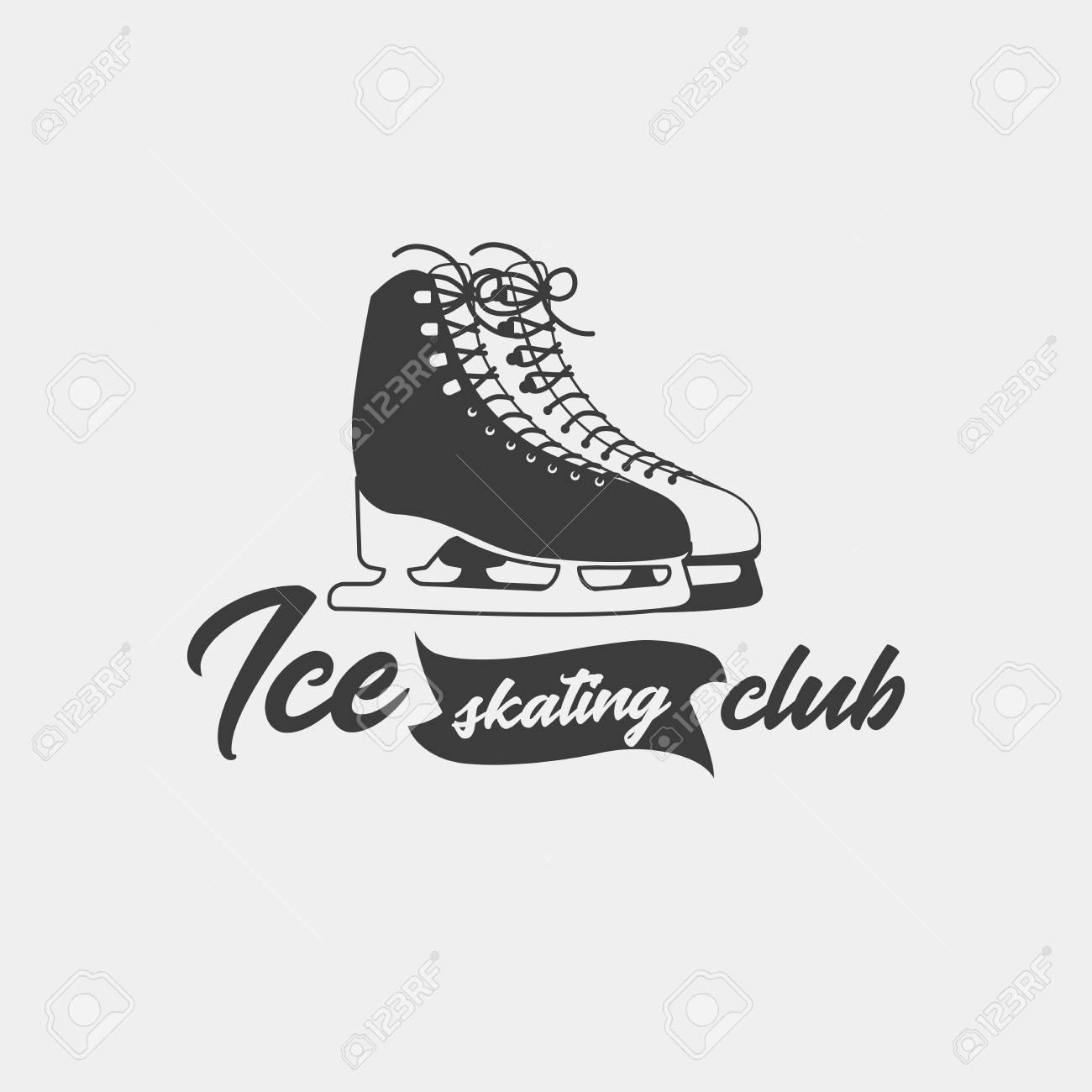 Abzeichen Vorlage Für Eislaufen Club. Einfarbiges Symbol. Dieses ...