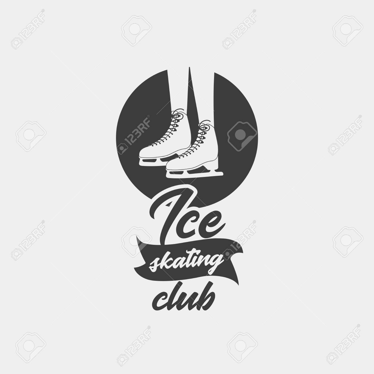 badge template with ice skates monochrome symbol this logo