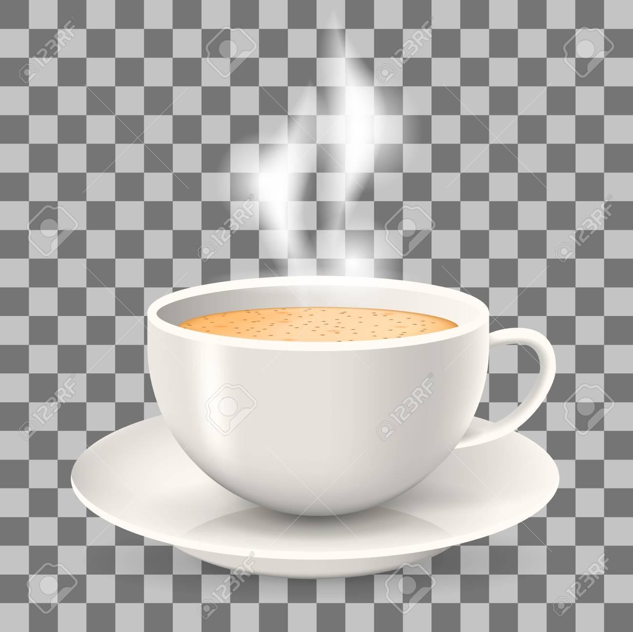 Heiße Tasse Kaffee Mit Dampf Auf Untertasse. Element Auf Dem ...