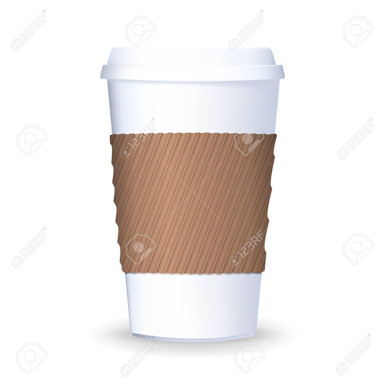 Um Papier Kaffeetasse Mit Deckel Und Schützenden Ripple Ärmel Zu ...