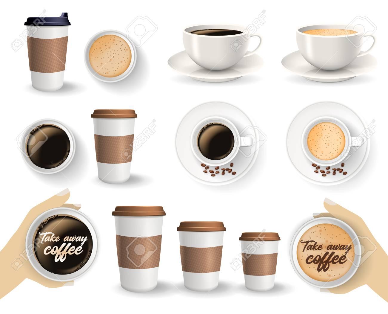 Set Zum Mitnehmen Und Zum Mitnehmen Papier Kaffeetassen In ...