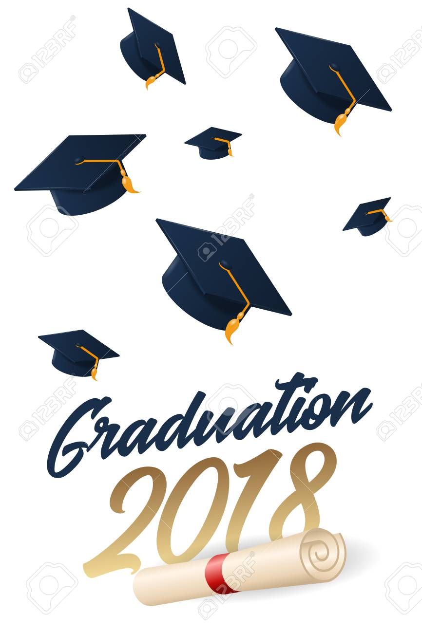 Graduation 2018 Poster With Hat Or Mortar Board. Can Be Used ...