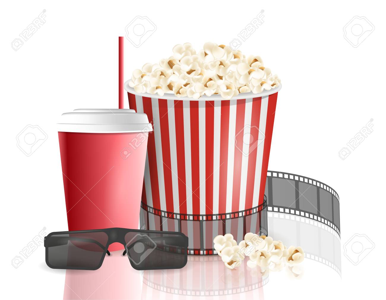 Movie Objects Popcorn Soda Takeaway 3d Cinema Glasses Cinema Royalty Free Cliparts Vectors And Stock Illustration Image 96981822