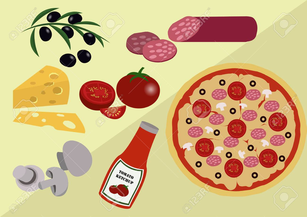 the image of pizza with ingridients from which it consist royalty