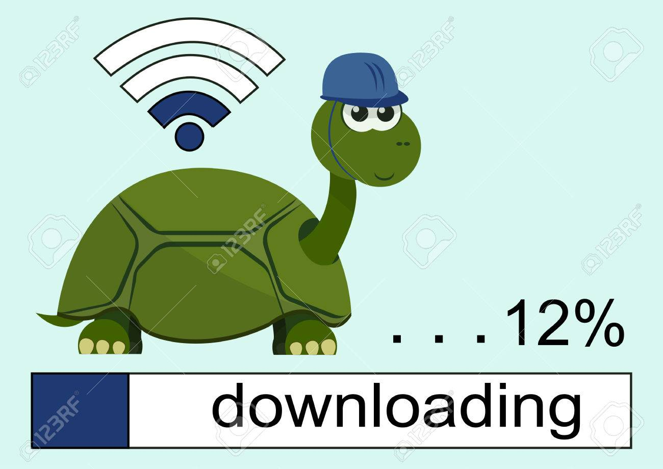 Cartoon turtle wearing a helmet with smile on her face. Loading bar. Wi Fi Icon. 12 . Vector illustration. - 64973008