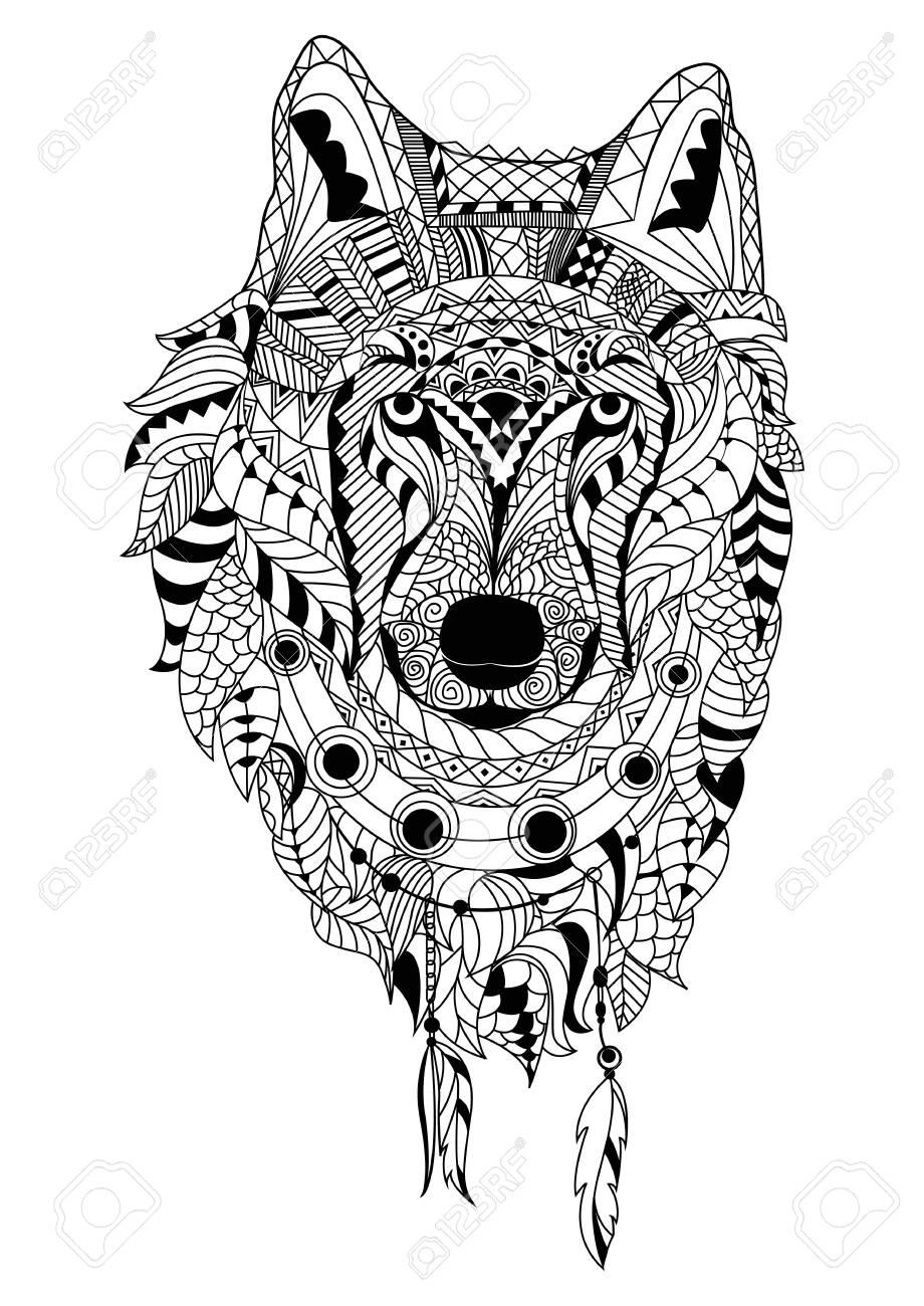 Kleurplaten Witte Tijger.De Kunsthand Die Van De Lijn Zwarte Wolf Trekt Die Op Witte