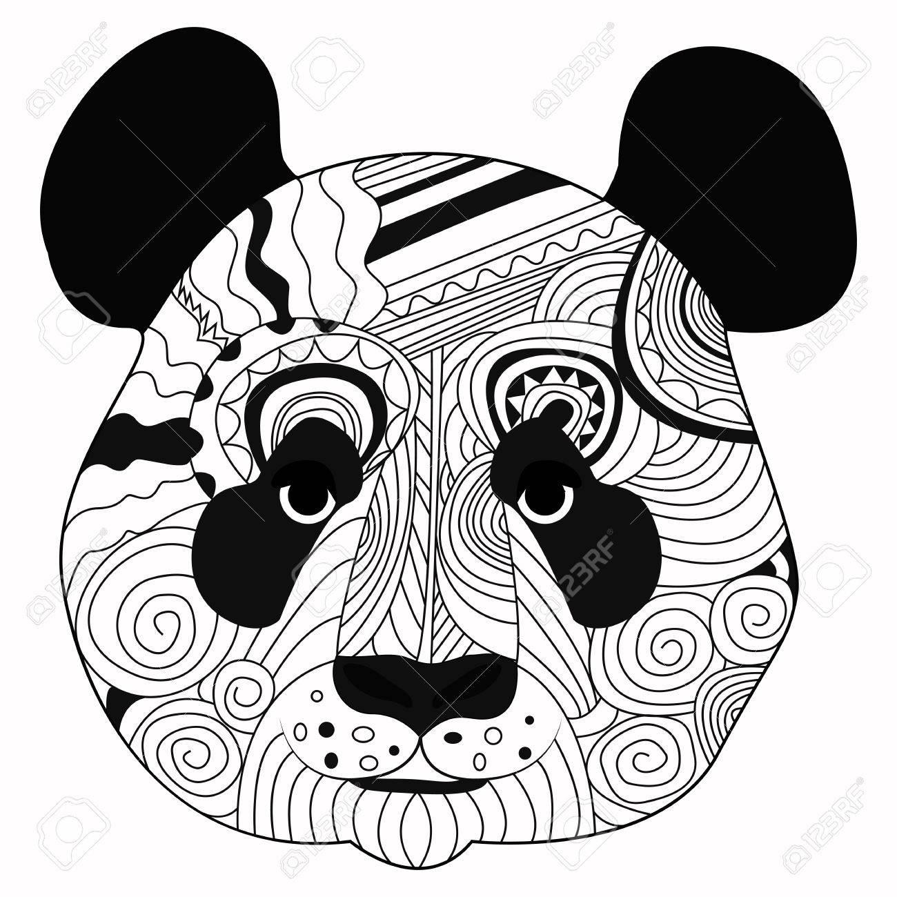 Main De Dessin Au Trait Dessin Noir Panda Isolé Sur Fond Blanc Style Dudling Tatoo Zenart Coloriage Pour Les Adultes