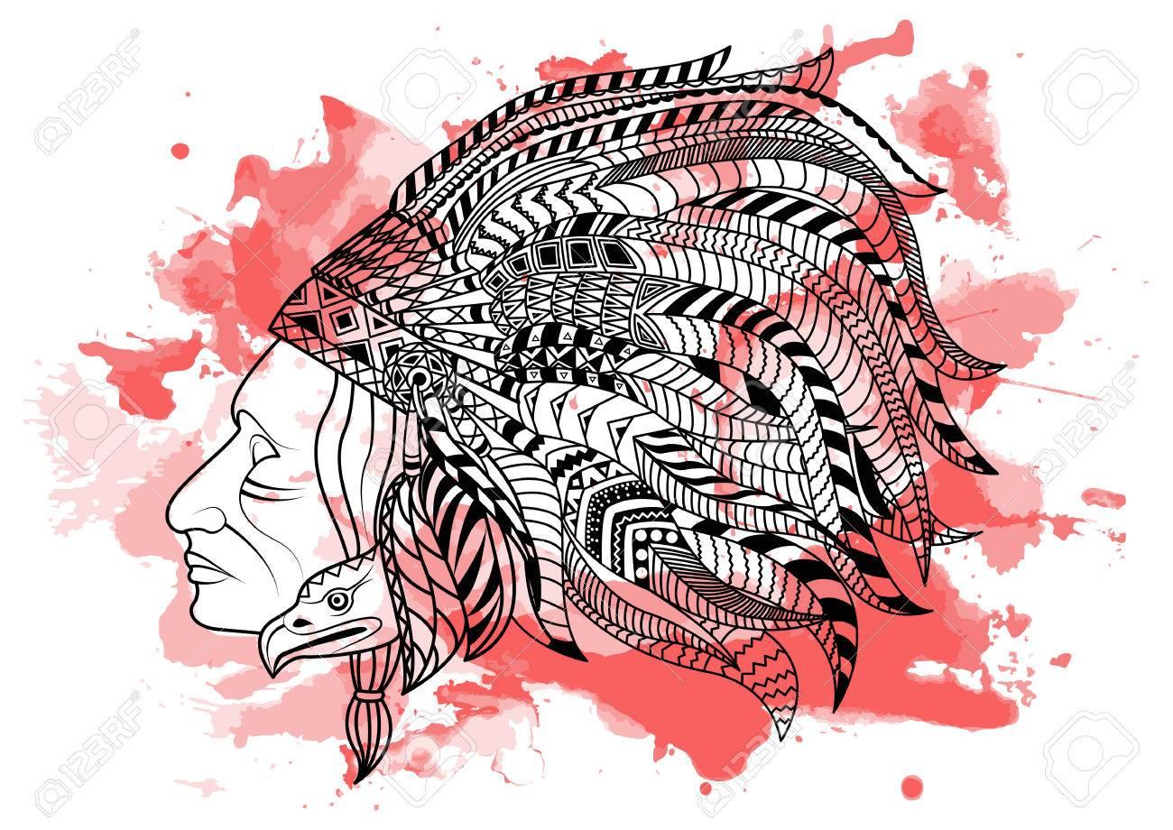 Dessin à Main En Ligne Dessin Noir Indien Rouge Isolé Sur Fond Blanc Avec Des Mouillages Daquarelle Rouge Style Doodle Tatoo Zenart