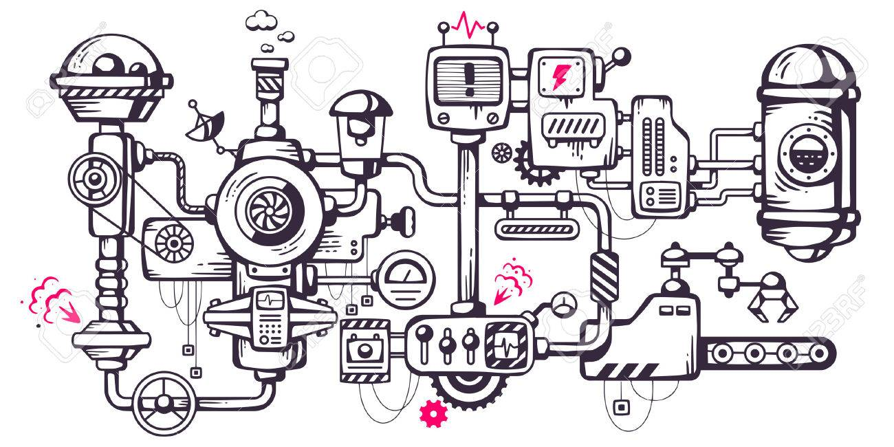 Vector industrial illustration background of the operating mechanism. Complicated mechanism at work. Line Art - 32258612
