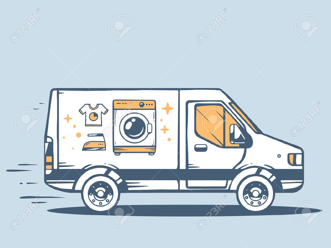 Vector illustration of van free and fast delivering washing machine to customer on blue background. Line art design for web, site, advertising, banner, poster, board and print. - 33612374
