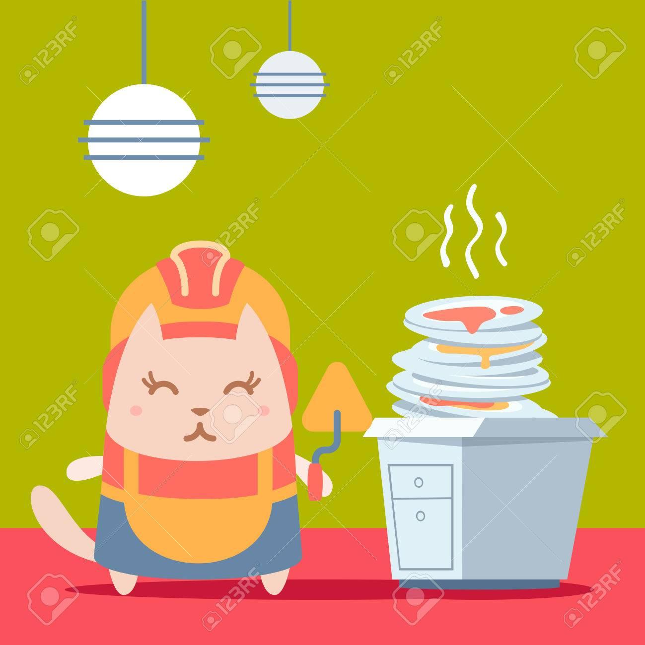archivio fotografico builder carattere in casco e tuta colorata piatta cat donna sta in cucina vicino ad un mucchio di piatti sporchi in possesso di una
