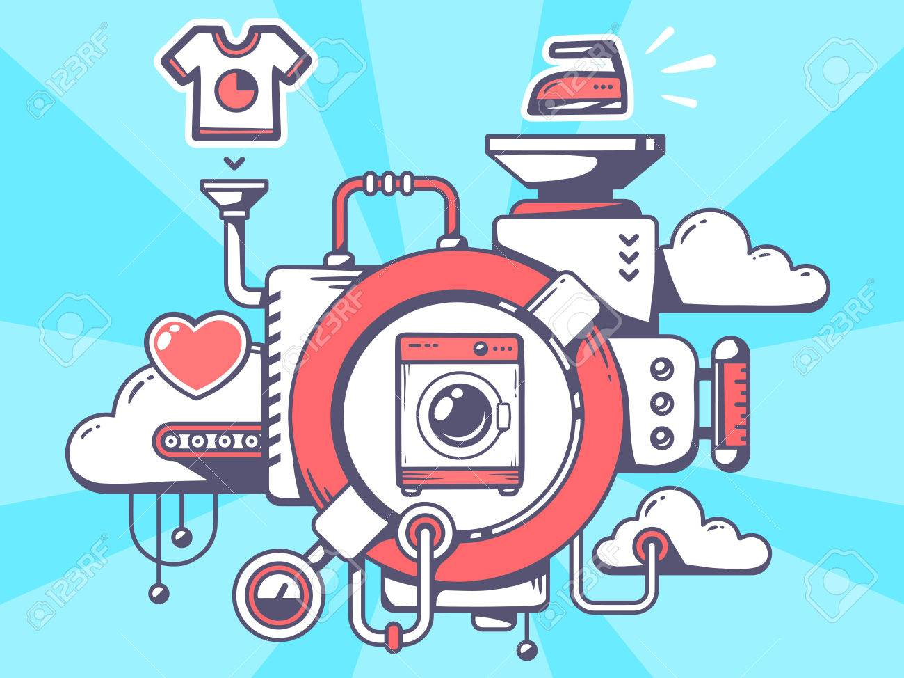 Vector illustration of mechanism with washing machine and relevant icons on blue background. Line art design for web, site, advertising, banner, poster, board and print. - 36269629