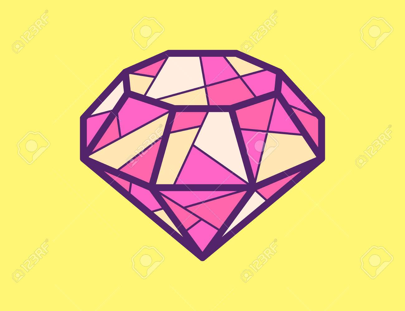 Vector illustration of red ruby on yellow background  Bright